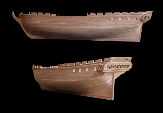 Stern galleries and gunports of Constitution model