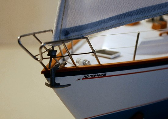 image of model sailboat pulpit