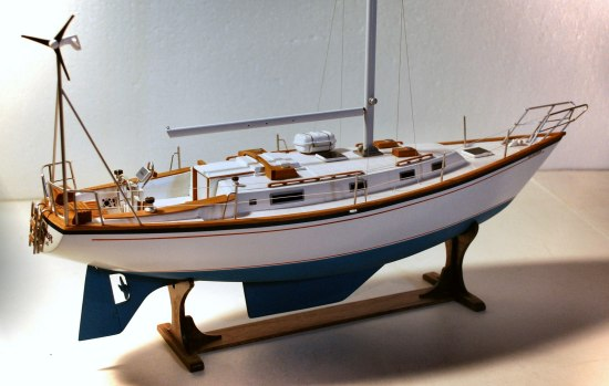 image of model sailboat with wind generator