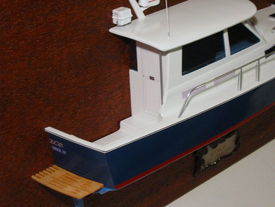 Stern view of BlueStar 36.6 MKII Half Hull model