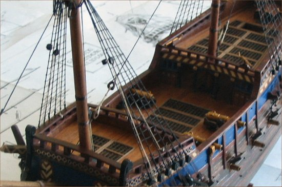 Deck view of a 16th century scale model galleon