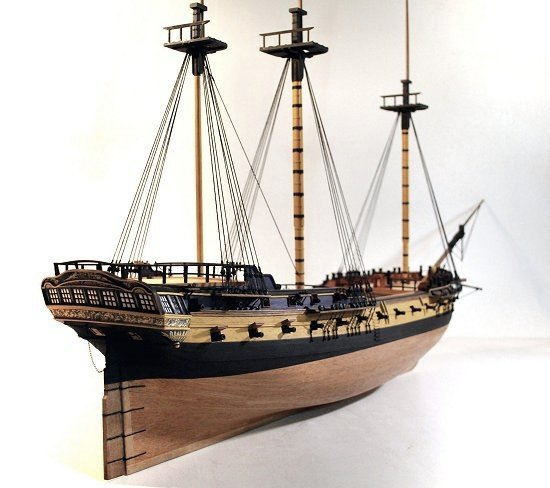 Image of the masts of a scale model galleon