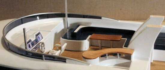 Johnson 87' super-yacht - starboard view of her fly-deck