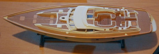 Oyster 82 sailboat model after decking has been applied.