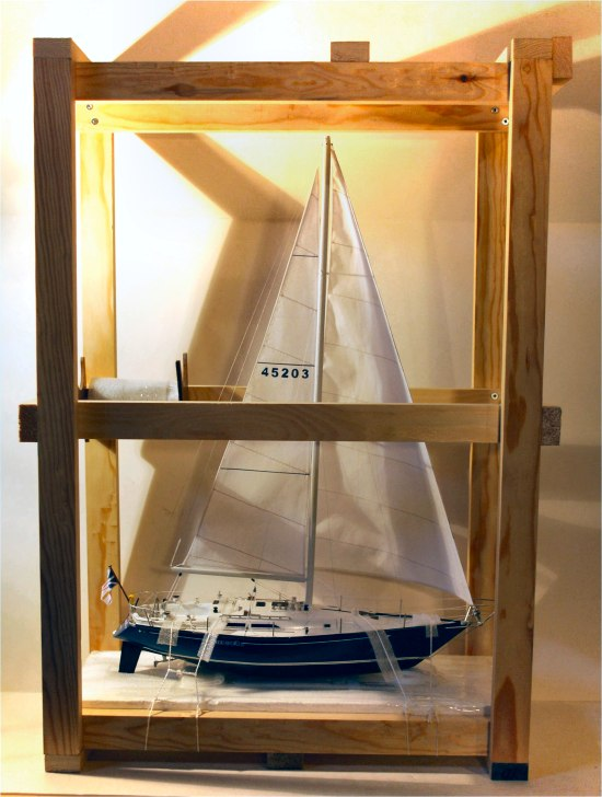 Sailboat model in shipping case